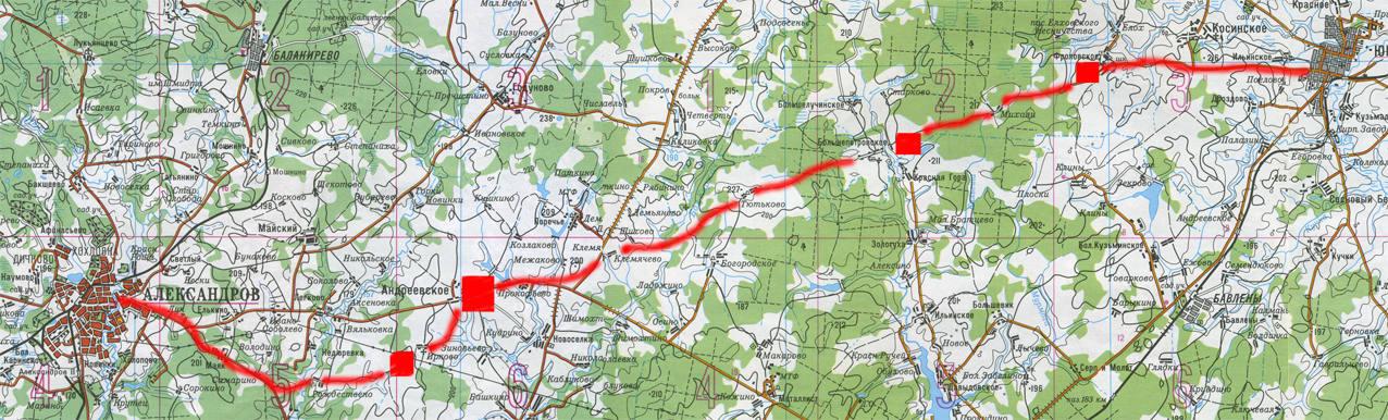 Карта гипотетической дороги